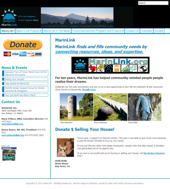 MarinLink.org Home Page With 2009 Template. Two columns, Lapinski Banner, and Posts on Left column